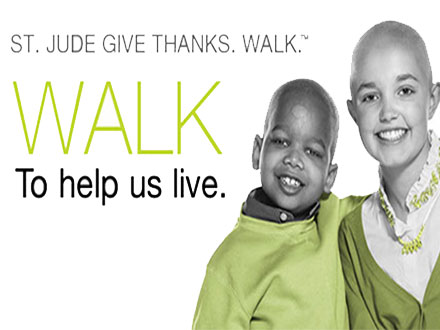 Social media release about the St. Jude Children's Research Hospital Give thanks. Walk.
